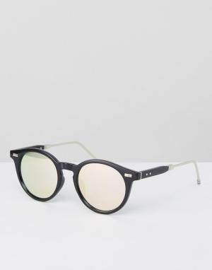 Jeepers Peepers Черные круглые солнцезащитные очки с розовыми стеклами. Цвет: черный