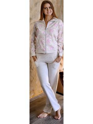 Костюм (кофта и штаны) Весталия. Цвет: бежевый, бледно-розовый