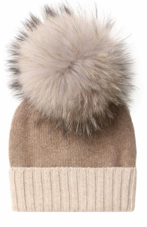 Кашемировая шапка с меховым помпоном TSUM Collection. Цвет: бежевый