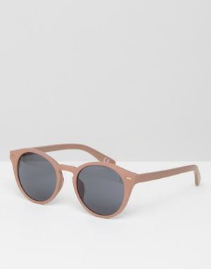 ASOS Круглые солнцезащитные очки в розовой оправе. Цвет: розовый