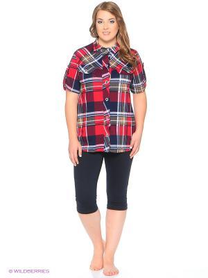 Комплект домашней одежды ( рубашка, бриджи) HomeLike. Цвет: красный, белый, синий