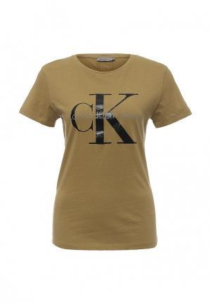 Футболка Calvin Klein Jeans. Цвет: бежевый