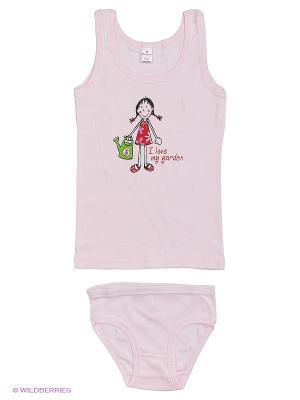 Майка+трусы дев.  ML0109 05 цвет розовый, девочка с лейкой Квирит. Цвет: розовый