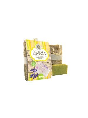 Сувенирный набор Мочалка джутовая с натуральным мылом Можжевельник Мануфактура Дом Природы. Цвет: серо-зеленый
