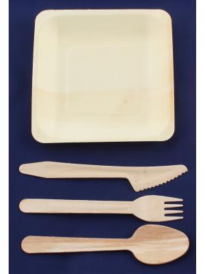 Набор экопосуды из березы и тополя (квадратная тарелка, ложка, вилка, нож) Радужки. Цвет: светло-коричневый