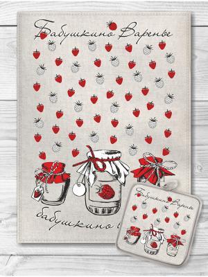 Набор кухонный Бабушкино варенье 1 GrandStyle. Цвет: светло-бежевый, красный, светло-серый