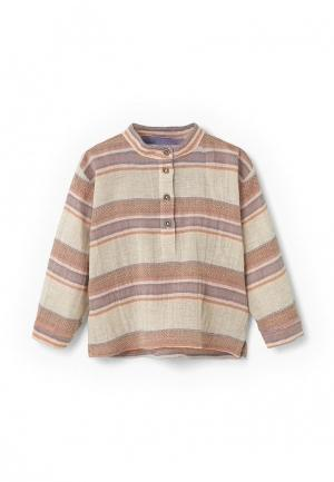 Рубашка Mango Kids. Цвет: бежевый