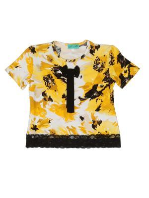 Блузка PETITE MARI. Цвет: белый, желтый
