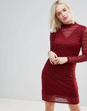 B.Young Кружевное платье с полупрозрачными вставками. Цвет: красный