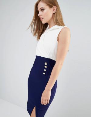 Vesper Платье-футляр в стиле смокинга. Цвет: мульти