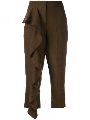 Укороченные брюки с оборками Dondup. Цвет: коричневый