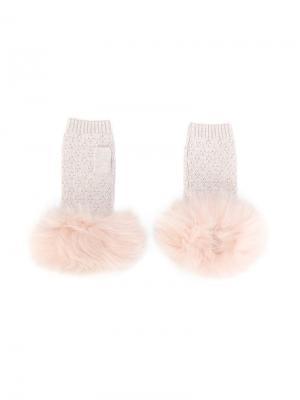 Трикотажные перчатки Yves Salomon Accessories. Цвет: розовый и фиолетовый