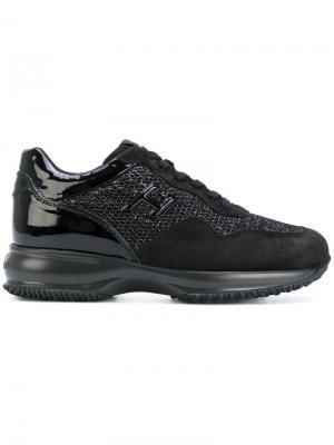 Кроссовки с твидовыми панелями Hogan. Цвет: чёрный
