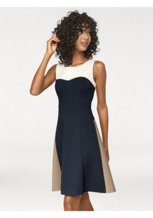 Моделирующее платье ASHLEY BROOKE by Heine. Цвет: темно-синий/молочно-белый