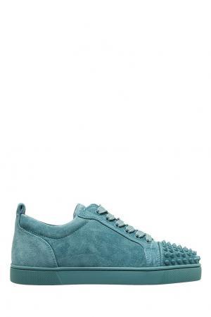 Голубые кроссовки из замши Louis Junior Spikes Christian Louboutin. Цвет: none