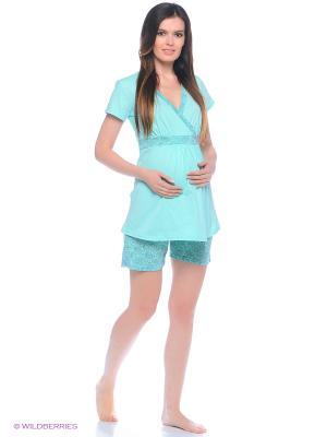 Комплект домашней одежды для беременных и кормления (блузка, шорты) 40 недель. Цвет: серо-голубой