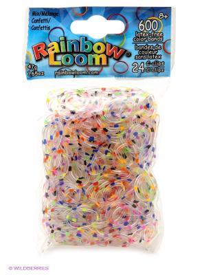 Резинки Конфетти Микс RAINBOWLOOM. Цвет: прозрачный, желтый, красный, синий