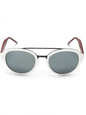 Солнцезащитные очки в круглой оправе Thom Browne Eyewear. Цвет: белый