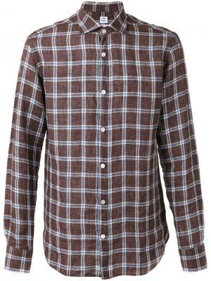 Рубашка в клетку Danolis. Цвет: коричневый