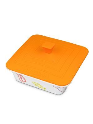 Форма для приготовления керамическая квадратная с силиконовой крышкой OURSSON. Цвет: оранжевый