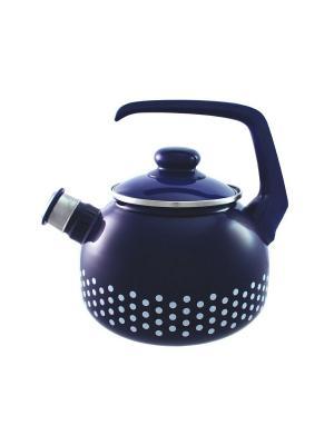 Чайник с бак. руч., со свистком 2,5 л METROT. Цвет: синий