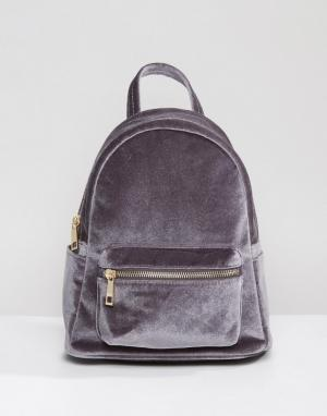 QUPID Бархатный мини-рюкзак. Цвет: серый