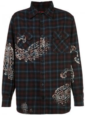 Клетчатая рубашка с принтом пейсли 424 Fairfax. Цвет: красный