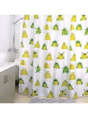 Штора для ванной Milardo. Цвет: белый, желтый, зеленый