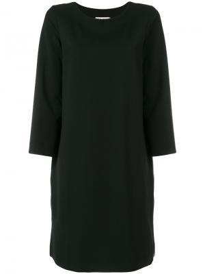 Платье шифт с длинными рукавами Hache. Цвет: чёрный