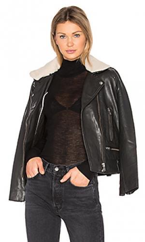 Кожаная куртка vulcania MKT studio. Цвет: черный