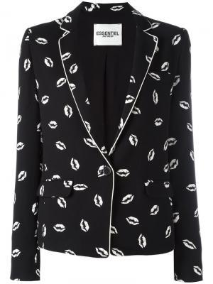Пиджак с принтом губ Essentiel Antwerp. Цвет: чёрный