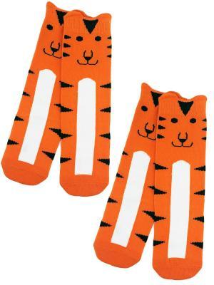 Гольфы, 2 пары HOBBY LINE. Цвет: оранжевый