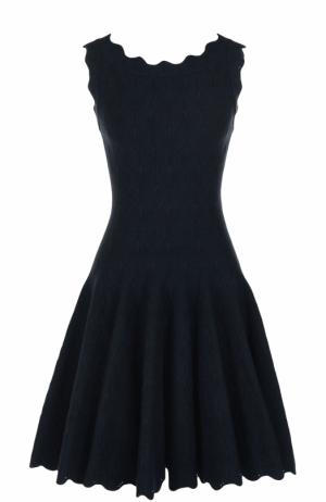Приталенное мини-платье с фактурной отделкой Alaia. Цвет: темно-синий
