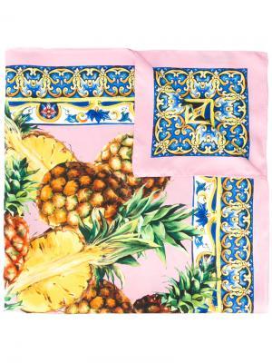 Платок с принтом ананасов Dolce & Gabbana. Цвет: розовый и фиолетовый