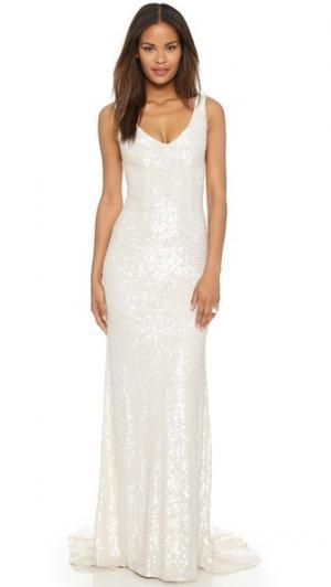 Вечернее платье Harlow, украшенное блестками Theia. Цвет: белый