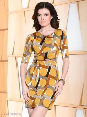 Платье Hammond. Цвет: горчичный, кремовый, бежевый