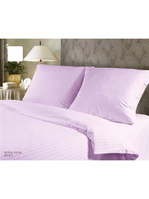 Комплект постельного белья 1,5-сп, ткань-страйп-сатин, наволочки 70*70см, Royal Plum Verossa. Цвет: сливовый