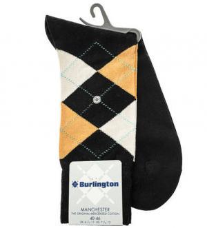 Хлопковые носки в клетку Burlington. Цвет: черный