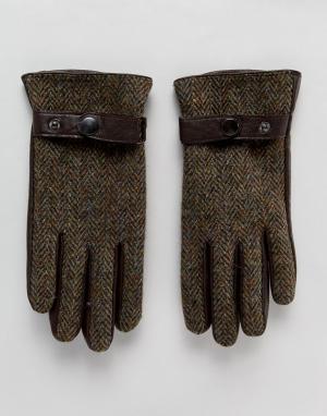 Boardmans Твидовые перчатки. Цвет: коричневый