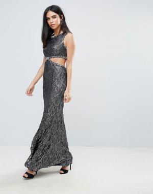 Forever Unique Платье макси с вырезом сбоку. Цвет: серый