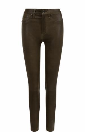 Кожаные брюки-скинни Rag&Bone. Цвет: оливковый