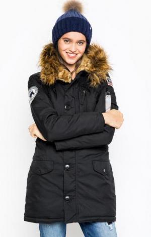 Удлиненная черная куртка Alpha Industries. Цвет: черный