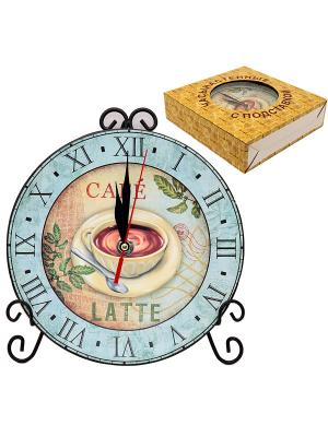 Часы с подставкой Чашка кофе Elan Gallery. Цвет: голубой, коричневый
