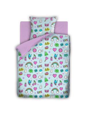 Комплект постельного белья 1,5 бязь Аппликации FOR YOU. Цвет: голубой, сиреневый