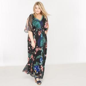Платье кафтан длинное с рисунком CASTALUNA. Цвет: рисунок тропики
