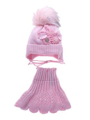 Комплект (Шапка детская, манишка) Migura. Цвет: розовый