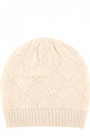 Вязаная шапка из кашемира Johnstons Of Elgin. Цвет: светло-бежевый
