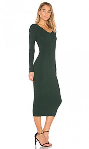 Платье из ткани в рубчик pearl Ronny Kobo. Цвет: зеленый