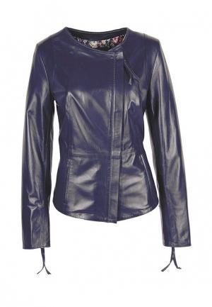 Куртка кожаная Grafinia. Цвет: синий