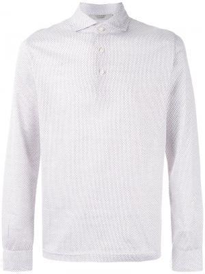 Рубашка-поло с длинными рукавами La Fileria For Daniello D'aniello. Цвет: белый